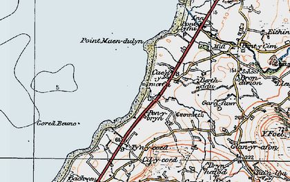 Old map of Aberdesach in 1922