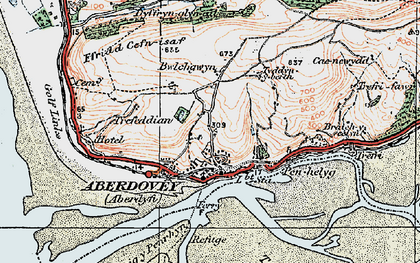 Old map of Aberdyfi in 1922