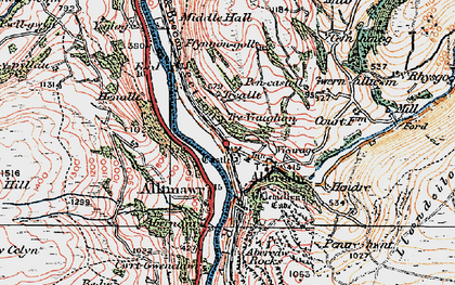 Old map of Aberedw in 1923