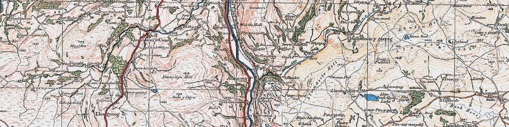Old map of Aberedw in 1923