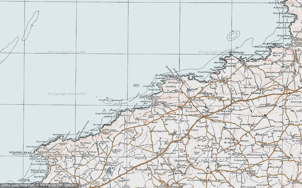 Old Map of Historic Map covering Aber-pwll in 1922