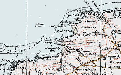 Old map of Abereiddi Bay in 1922