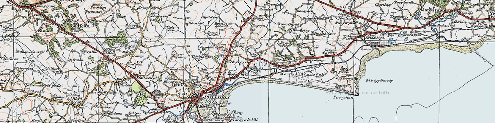 Old map of Abererch in 1922