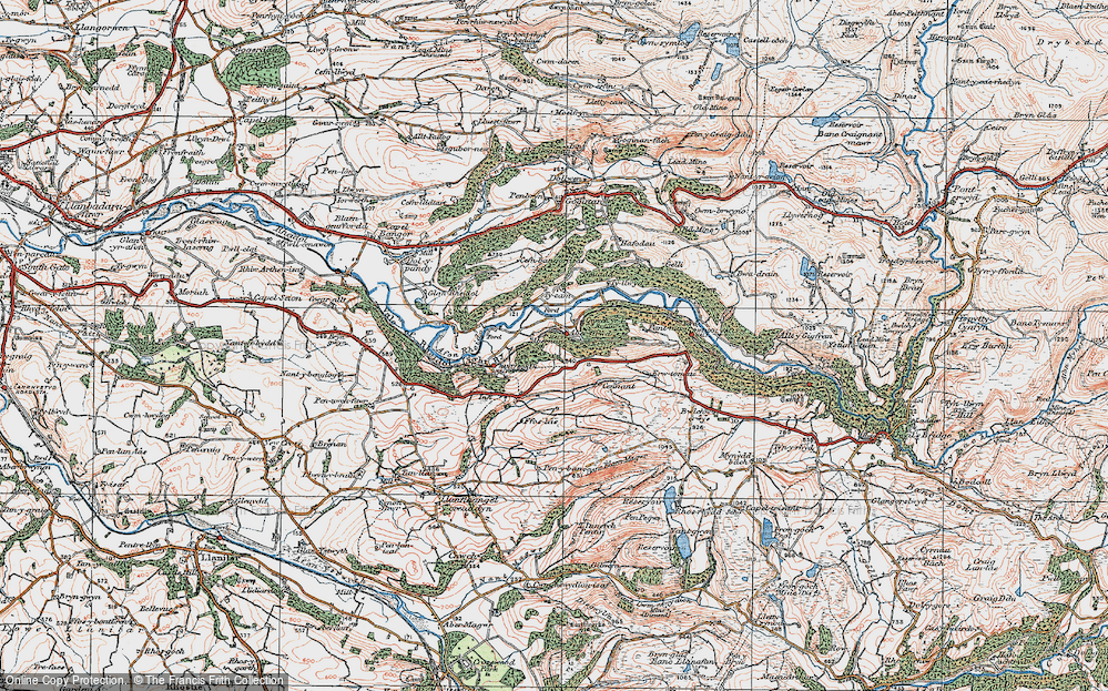 Old Map of Historic Map covering Abernant in 1922