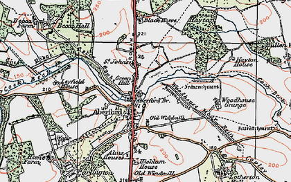 Old map of Aberford in 1925