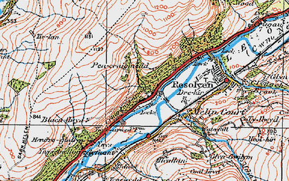 Old map of Abergarwed in 1923