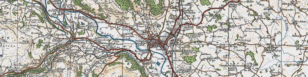 Old map of Abergavenny in 1919