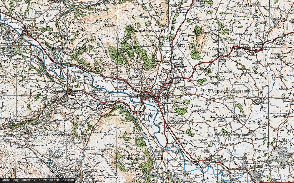Old Map of Abergavenny/Y Fenni, 1919 in 1919