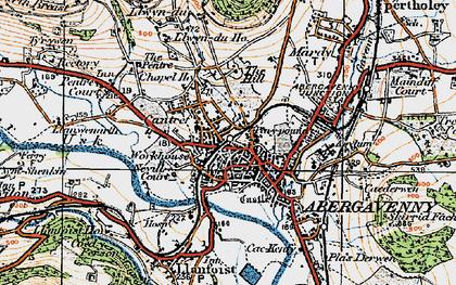 Old map of Abergavenny/Y Fenni in 1919