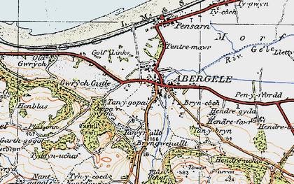 Old map of Abergele in 1922