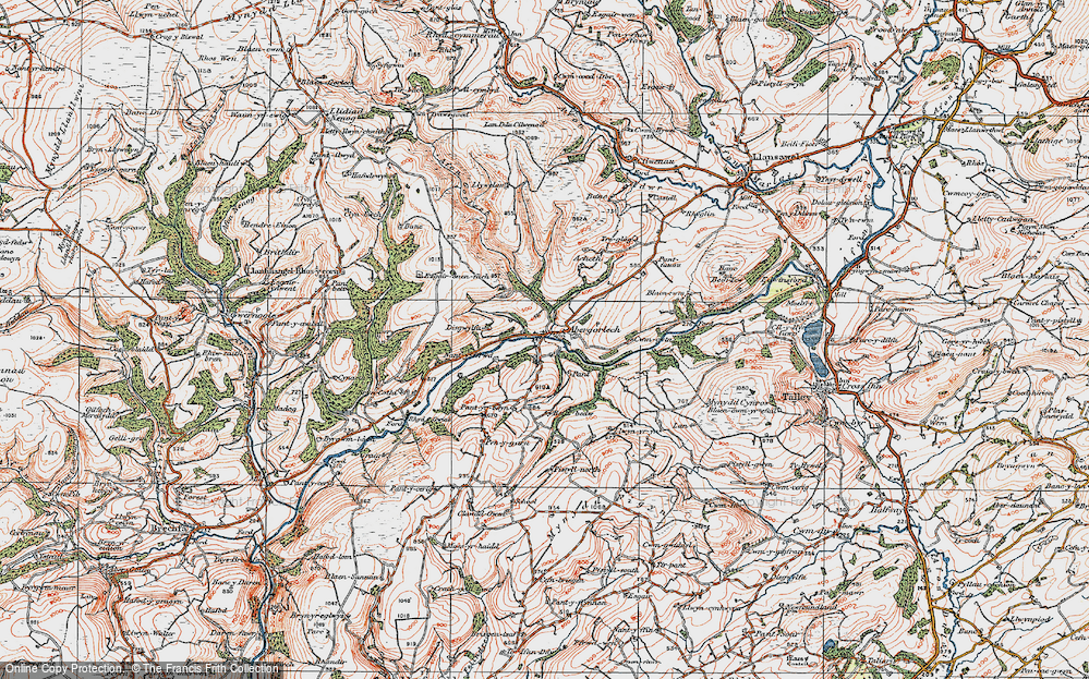 Old Map of Abergorlech, 1923 in 1923