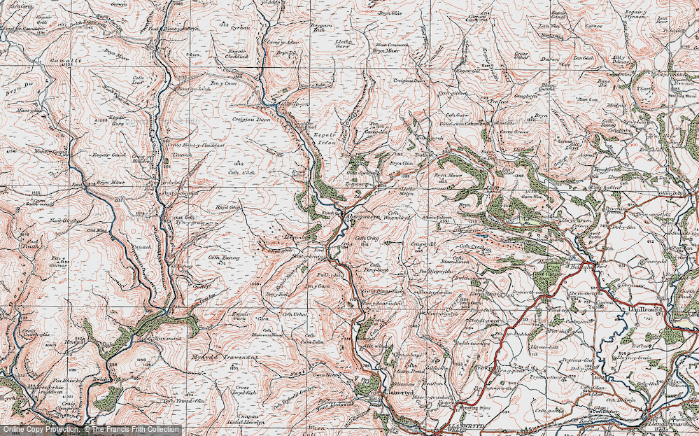 Old Map of Historic Map covering Afon Gwesyn in 1923
