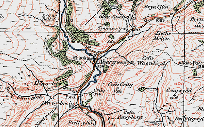 Old map of Abergwesyn in 1923