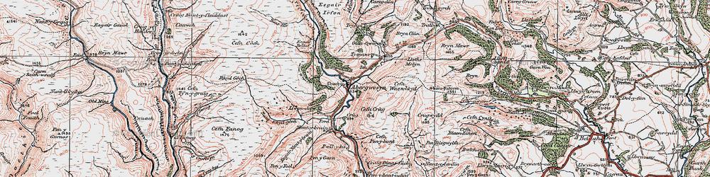 Old map of Afon Gwesyn in 1923
