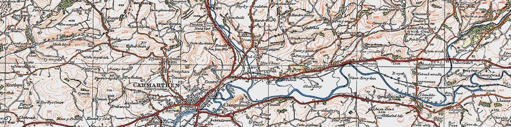 Old map of Abergwili in 1923