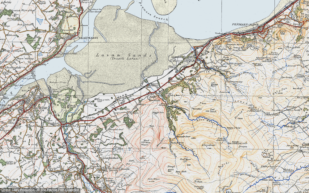 Old Map of Historic Map covering Aber Falls in 1922