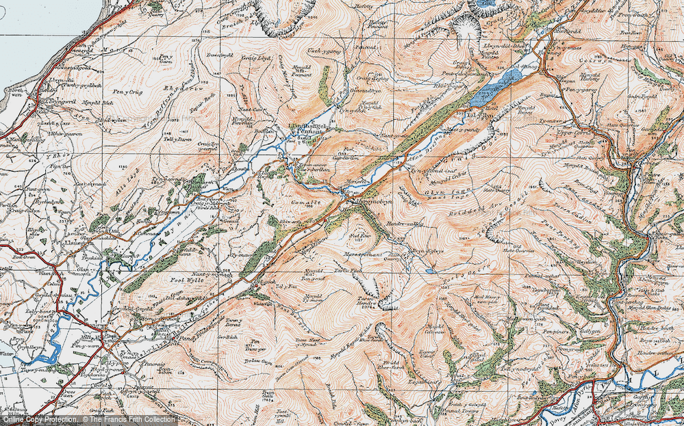 Old Map of Abergynolwyn, 1922 in 1922