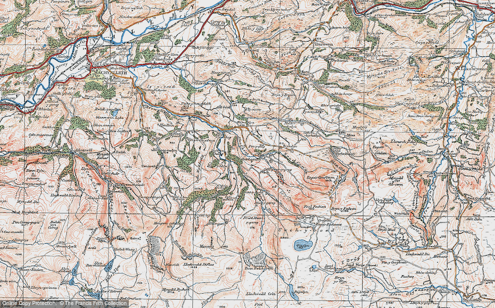 Old Map of Historic Map covering Afon Hengwm in 1921