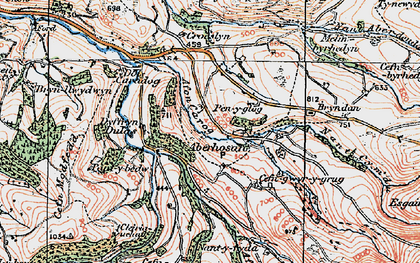 Old map of Afon Carog in 1921