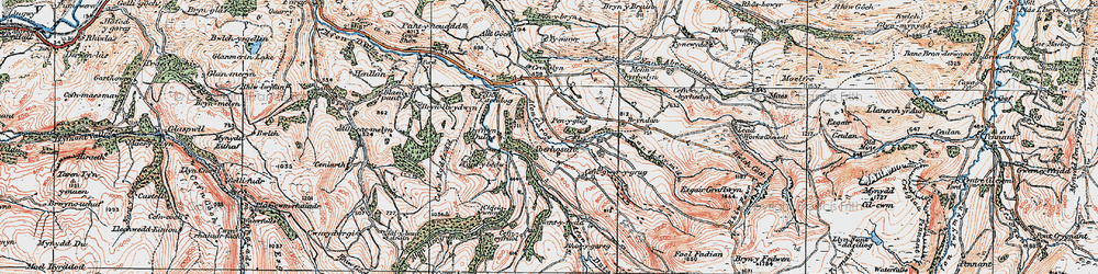Old map of Aberhosan in 1921