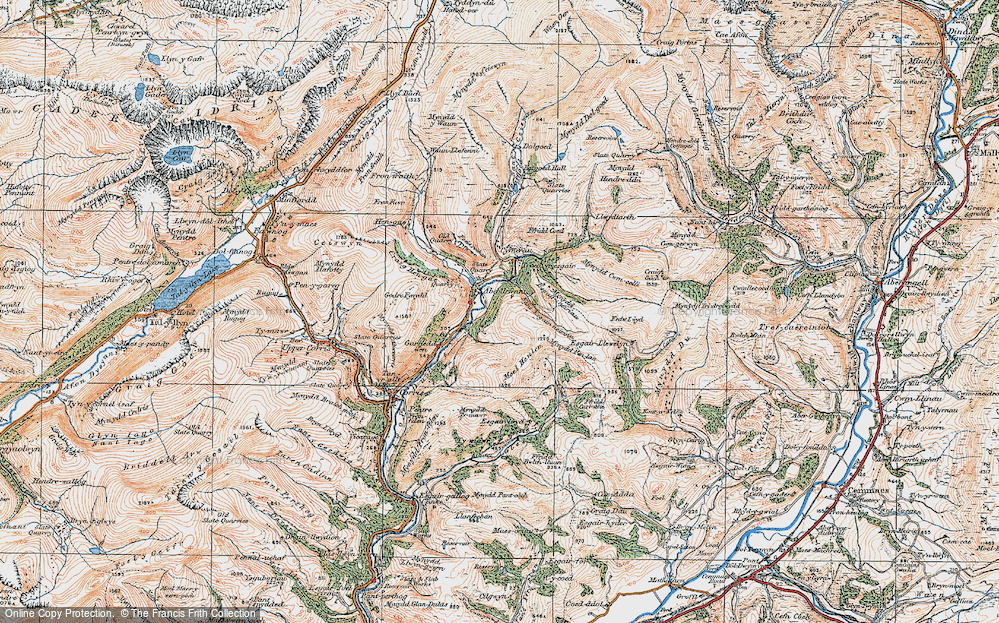 Old Map of Historic Map covering Afon Dulas in 1921