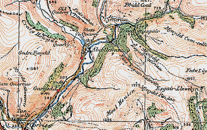 Old map of Aberllefenni in 1921