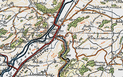 Old map of Abermule in 1921