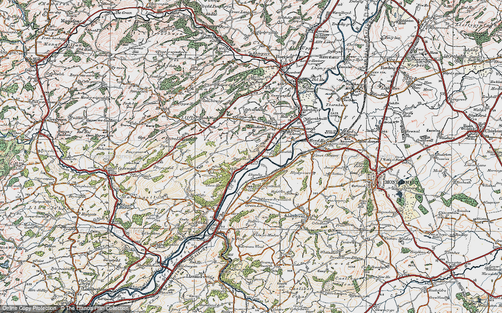 Old Map of Abernant, 1921 in 1921