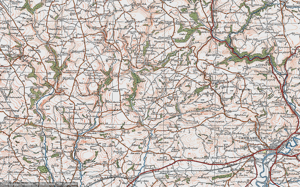 Old Map of Abernant, 1923 in 1923