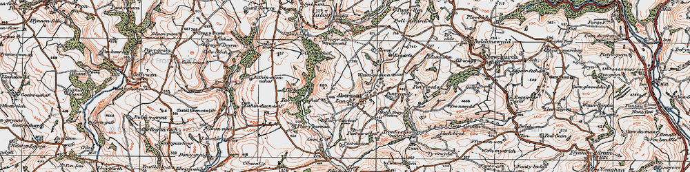 Old map of Abernant in 1923