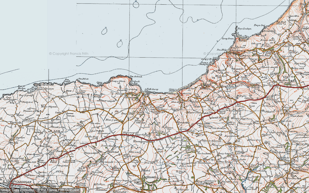 Old Map of Aberporth, 1923 in 1923