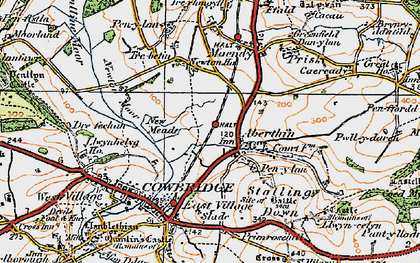 Old map of Aberthin in 1922