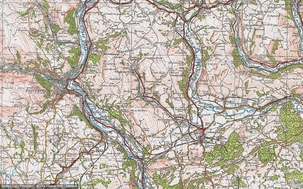 Old Map of Abertridwr, 1919 in 1919