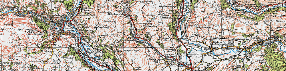 Old map of Abertridwr in 1919