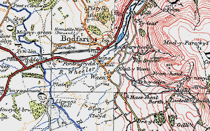 Old map of Aberwheeler in 1922