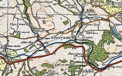 Old map of Aberyscir in 1923