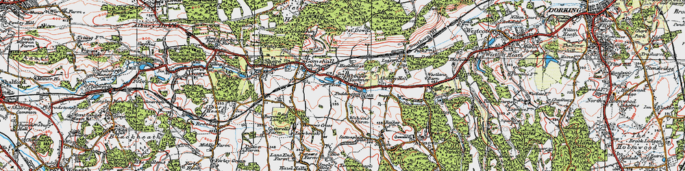 Old map of Abinger Hammer in 1920