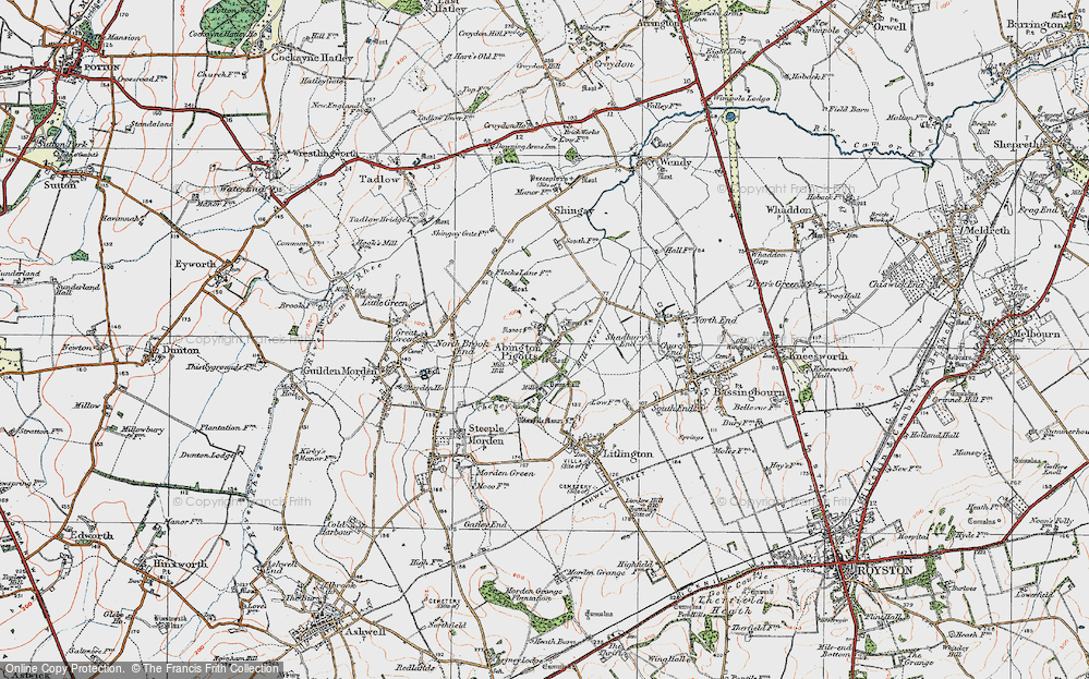 Old Map of Abington Pigotts, 1919 in 1919