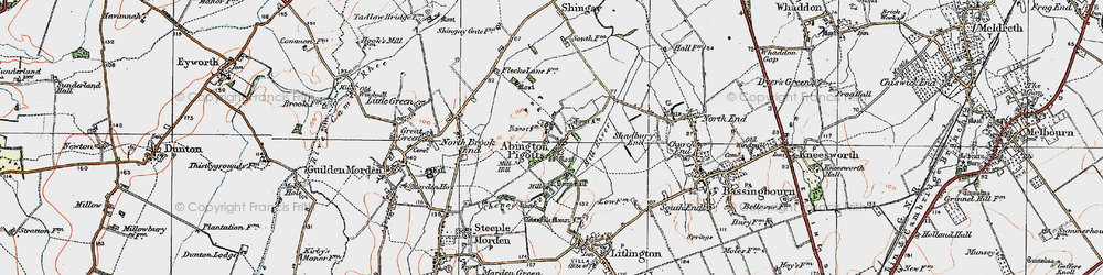 Old map of Abington Pigotts in 1919