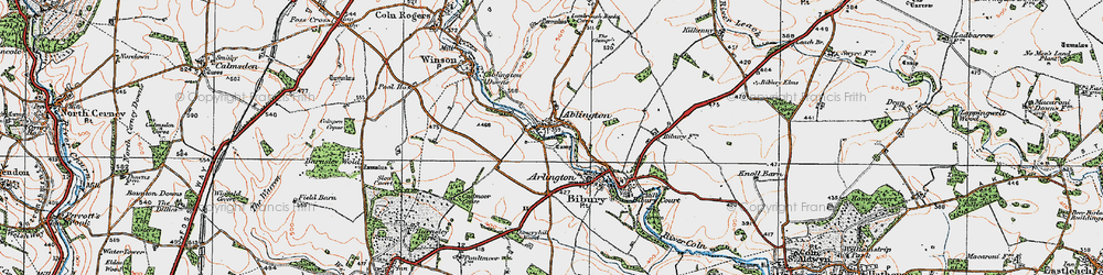 Old map of Ablington in 1919
