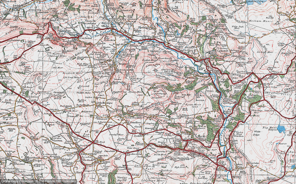 Old Map of Historic Map covering Abney Low in 1923