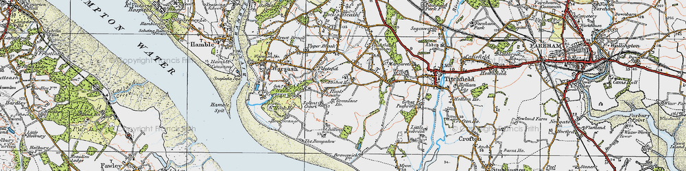 Old map of Abshot in 1919