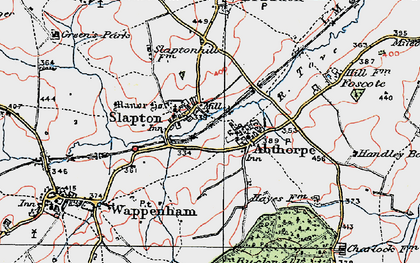 Old map of Abthorpe in 1919