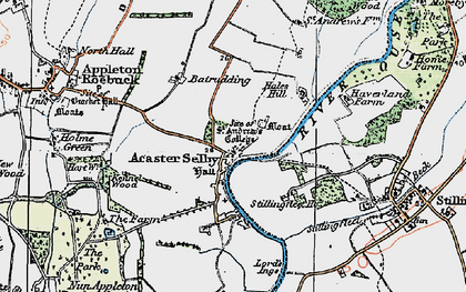 Old map of Acaster Selby in 1924