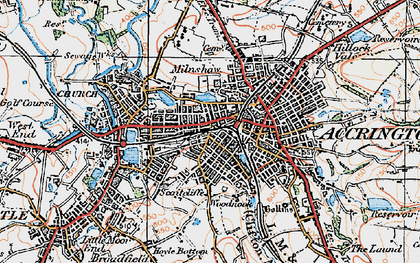Old map of Accrington in 1924