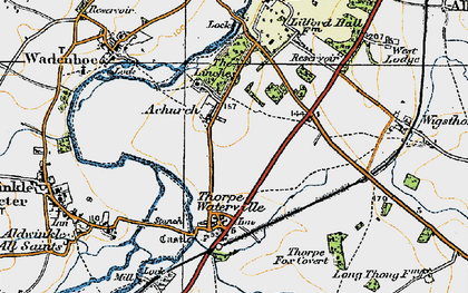 Old map of Achurch in 1920