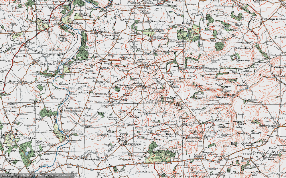 Old Map of Historic Map covering Acklam Wold in 1924