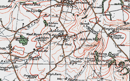 Old map of Back Warren Plantn in 1924