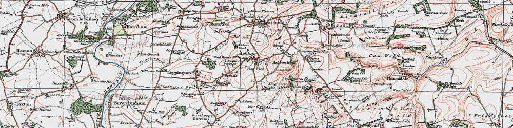 Old map of Acklam in 1924