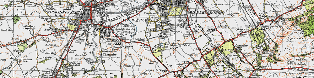 Old map of Acklam in 1925